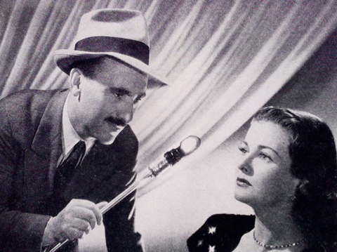 "Alton and his ""testlight"" with Joan Bennett."