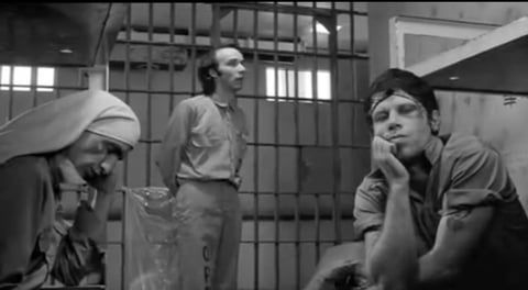 John Lurie, Roberto Begnini, Tom Waits in DOWN BY LAW.