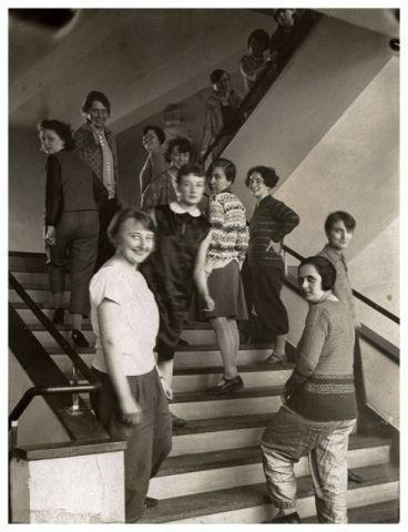 T. Lux Feininger: students on the stairway.