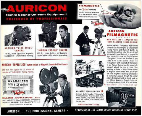 An ad for the single system sound-on-film studio Auricon.