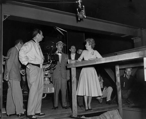 "Producer Chester Erskine, John Alton, Barbara Stanwyck on set of ""Witness to Murder,"" 1954."