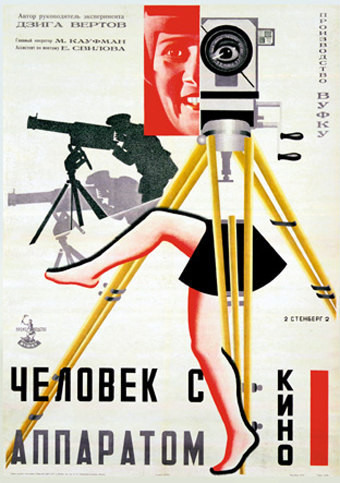 """Man with a Movie Camera"" poster in the Constructivist style."