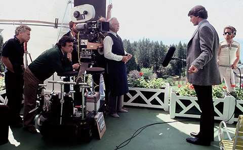Isidore Mankofsky, ASC (left), and director Jeannot Szwarc film Christopher Reeve.