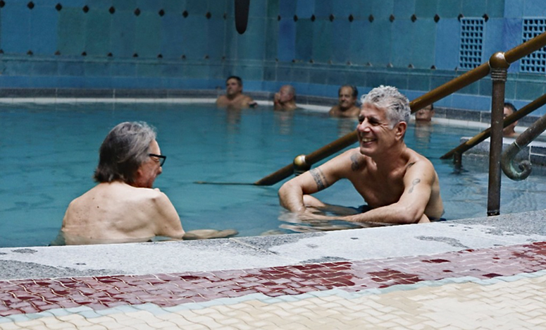 Vilmos Zsigmond and Anthony Bourdain in the Gellért Baths in Budapest. (Credit: CNN)