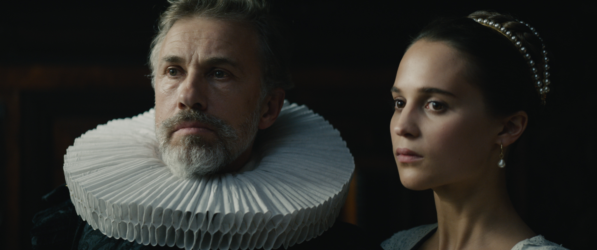 Sophia (Alicia Vikander) falls for a young artist whom her husband, Cornelis Sandvoort (Christoph Waltz), commissions to paint her portrait in the feature Tulip Fever, shot by cinematographer Eigil Bryld.