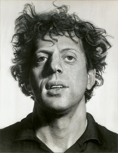 Painting of Philip Glass by Chuck Close.