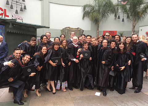 Stephen Lighthill, ASC, poses with AFI's cinematography class of 2015 in Hollywood.