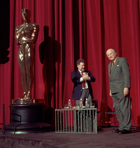 Taylor hosted two Academy events in Harryhausen's honor. This shot is from 1998.