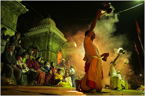 Full moon festival in Pashupatinath temple, Katmandu, Nepal.