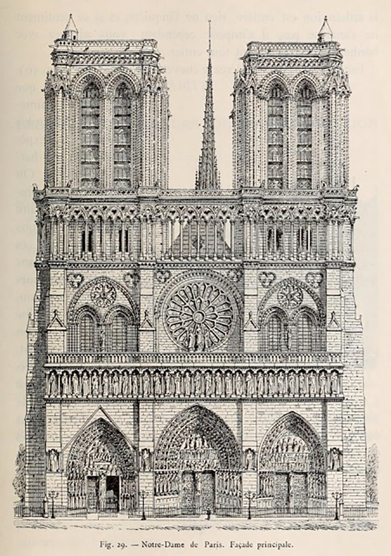 Architectural drawing of Notre Dame