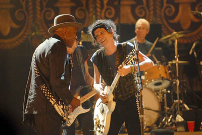 A scene from the Rolling Stones documentary Shine a Light. Anastas Michos, ASC, was a camera operator on the project.