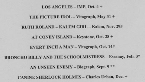 Films of 1912: the program.