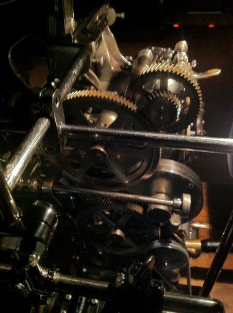 Steampunk gears of Power's projector.