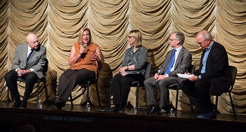 Participants in the Academy panel on Too Much Johnson at LACMA. Pictured (left to right) are actor Norman Lloyd; Andrea Kalas, vice president of archives at Paramount Pictures; Annette Melville, director of the National Film Preservation Foundation; Bruce Barnes, director of the George Eastman House; and Randy Haberkamp, managing director of programming, education and preservation at the Academy.