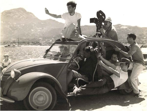 New Wave camera car (2CV), Adieu Philippine, René Mathelin at camera.