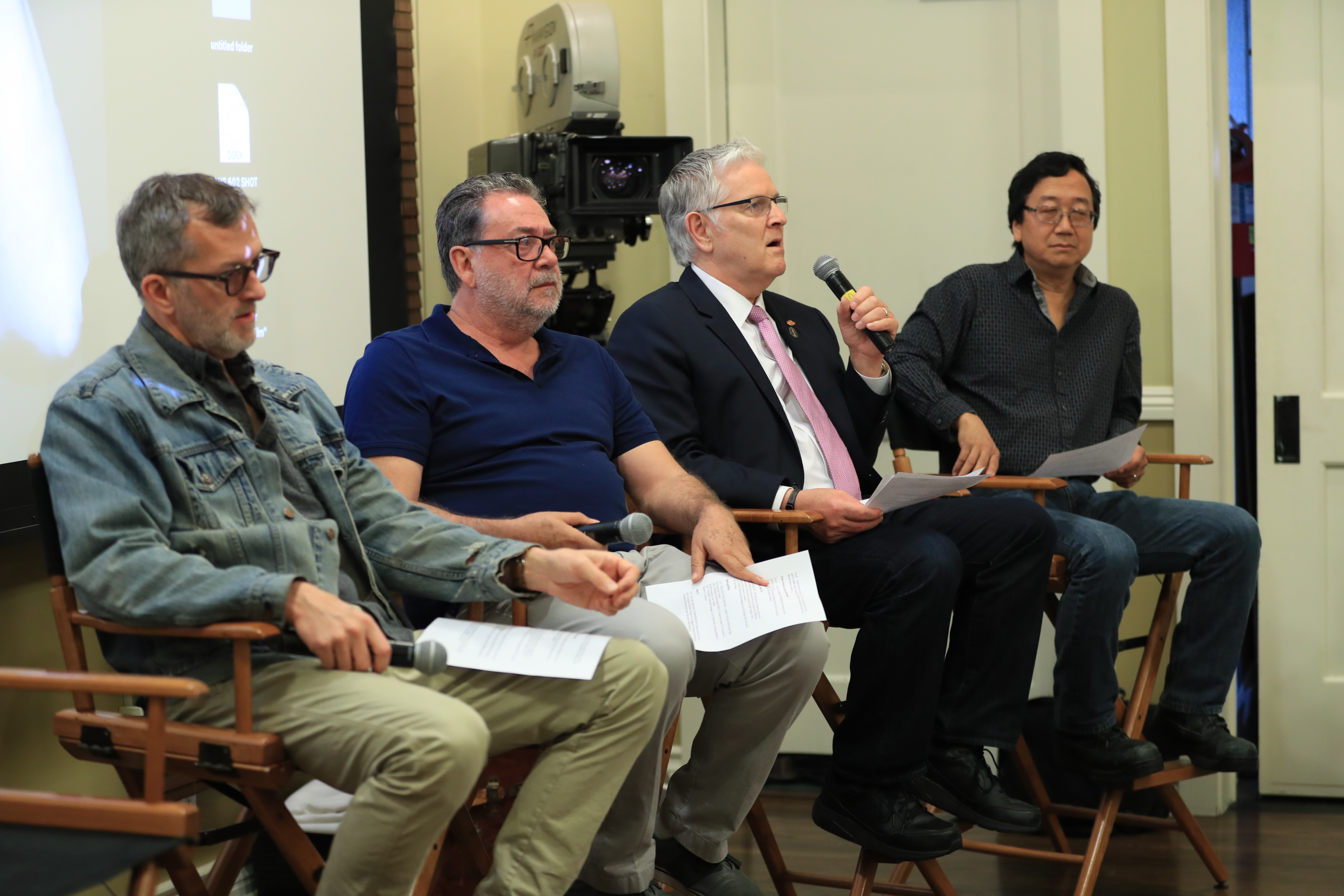 At the ASC Clubhouse, IMAX Chief Quality Officer David Keighley introduces panelists (from left) Mark Worthington, Guillermo Navarro, ASC, AMC and Michael Goi, ASC. Photo by James Neihouse, ASC