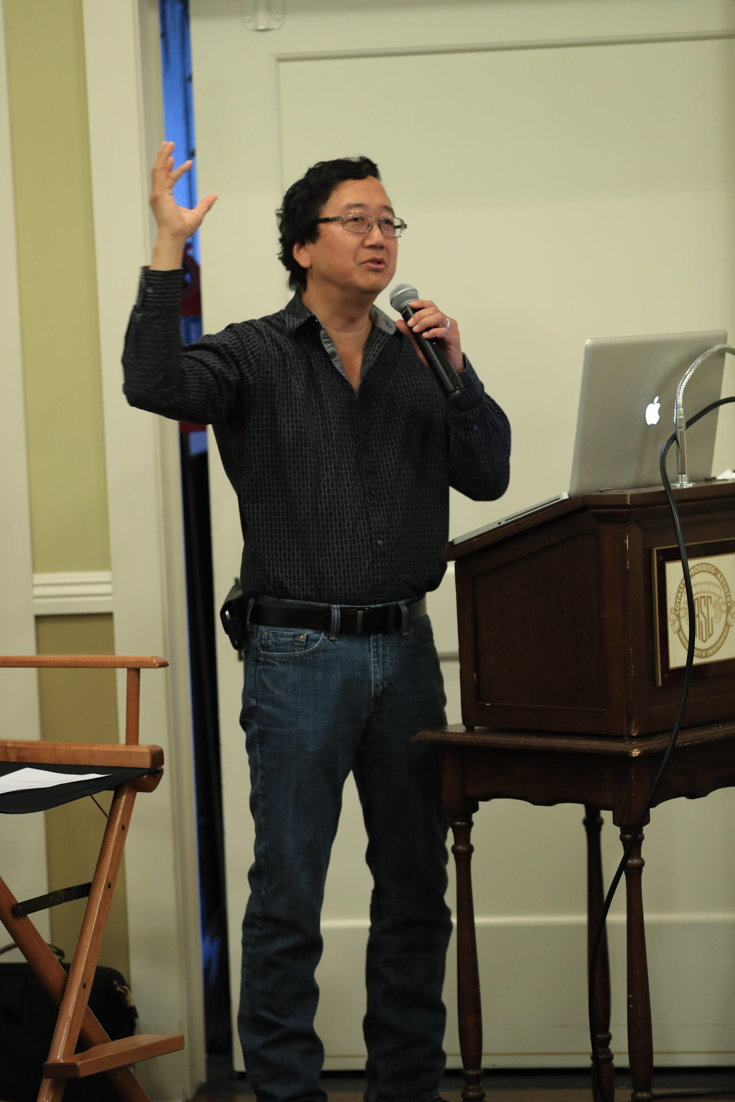 Michael Goi, ASC discussing his work on American Horror Story at ICS2016. Photo by James Neihouse, ASC