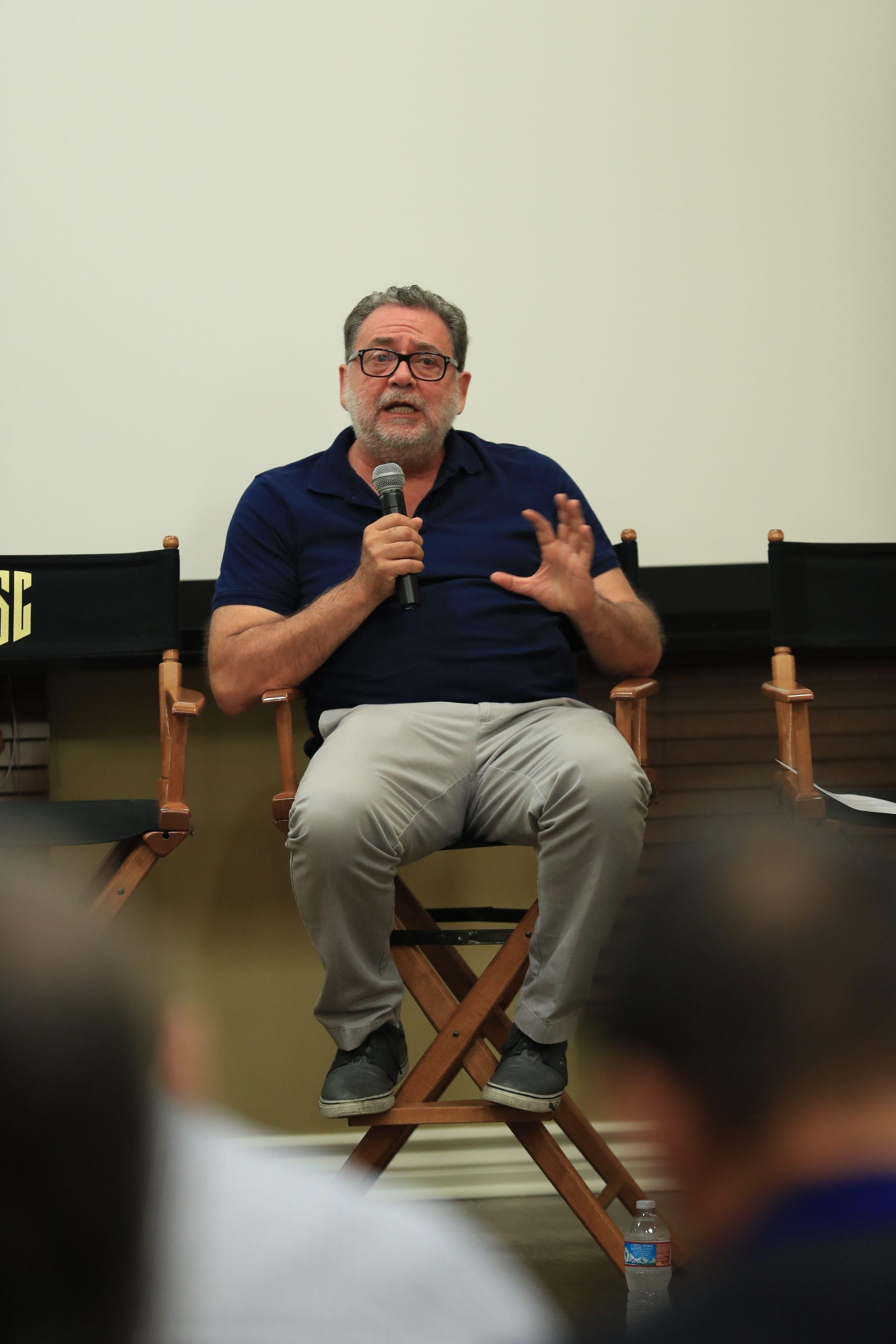 Guillermo Navarro, ASC, AMC speaks to the ICS assembly. Photo by James Neihouse, ASC