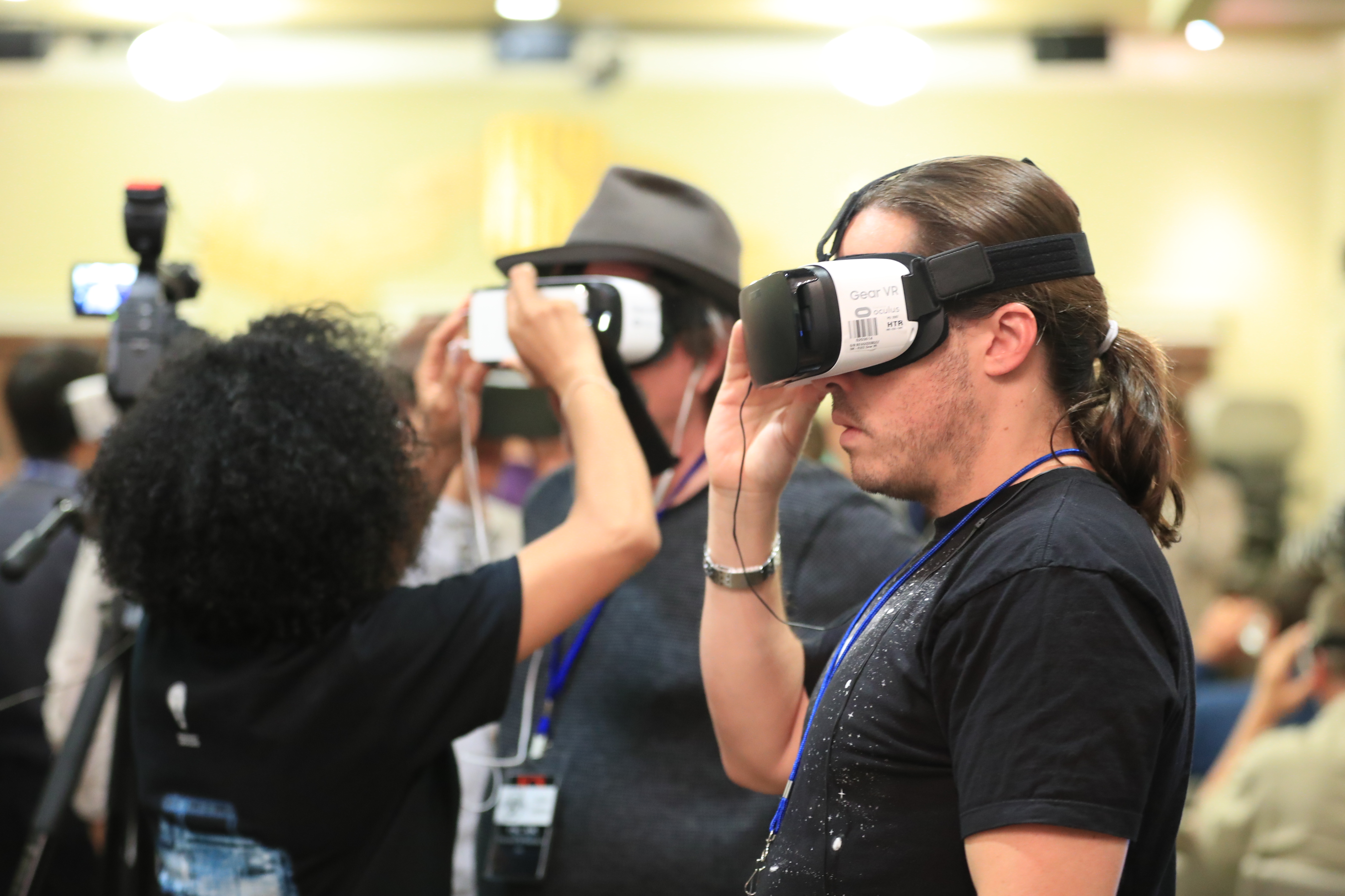 ICE participants experienced portions of the VR demo using Oculus Gear VR headsets. Photo by James Neihouse, ASC