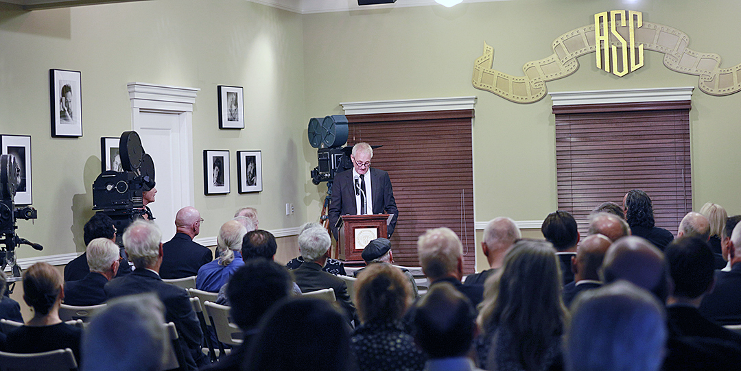 ASC president Kees van Oostrum addresses Society members and memorial guests at the Clubhouse in Hollywood.