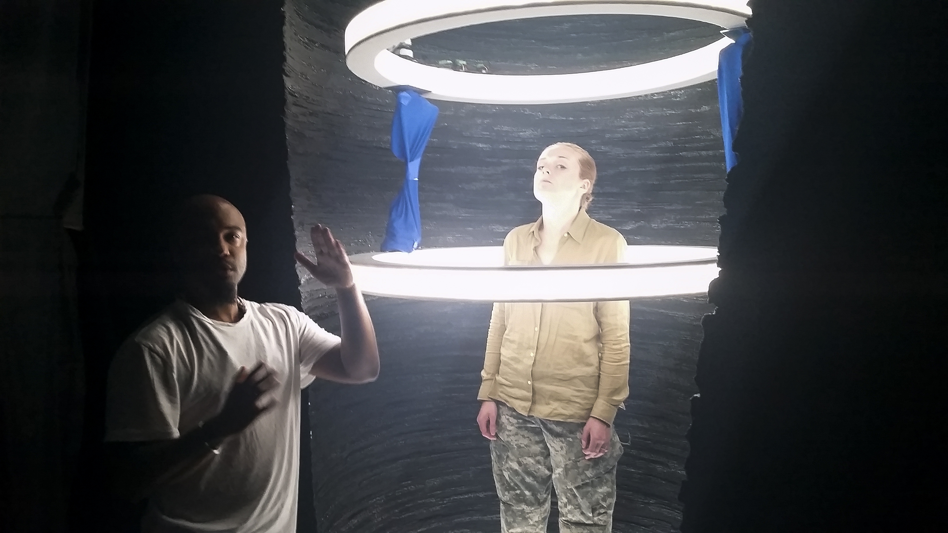 Bradford Young, ASC studies the light in the set for the aliens' spacecraft.