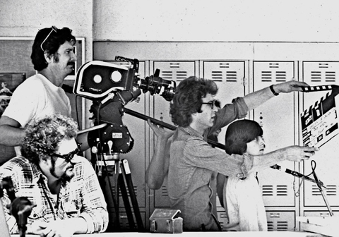 John with director Paul Aaron and NPR for a TV PSA., 1978