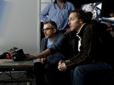 "Alfonso Cuarón and Emmanuel ""Chivo"" Lubezki on the set of GRAVITY."