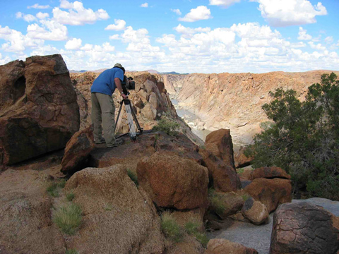 Dejan shooting at Augrabies Falls National Park, South Africa for a World Wildlife Fund documentary about land returned to the descendants of its original inhabitants, who had been forcibly removed.
