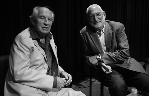 Vittorio Storaro, ASC, AIC, poses with Lighthill after a recent ASC event at AFI. (Credit: John Simmons, ASC)