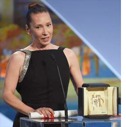 Emmanuelle Bercot accepting Best Actress prize at Cannes 2015