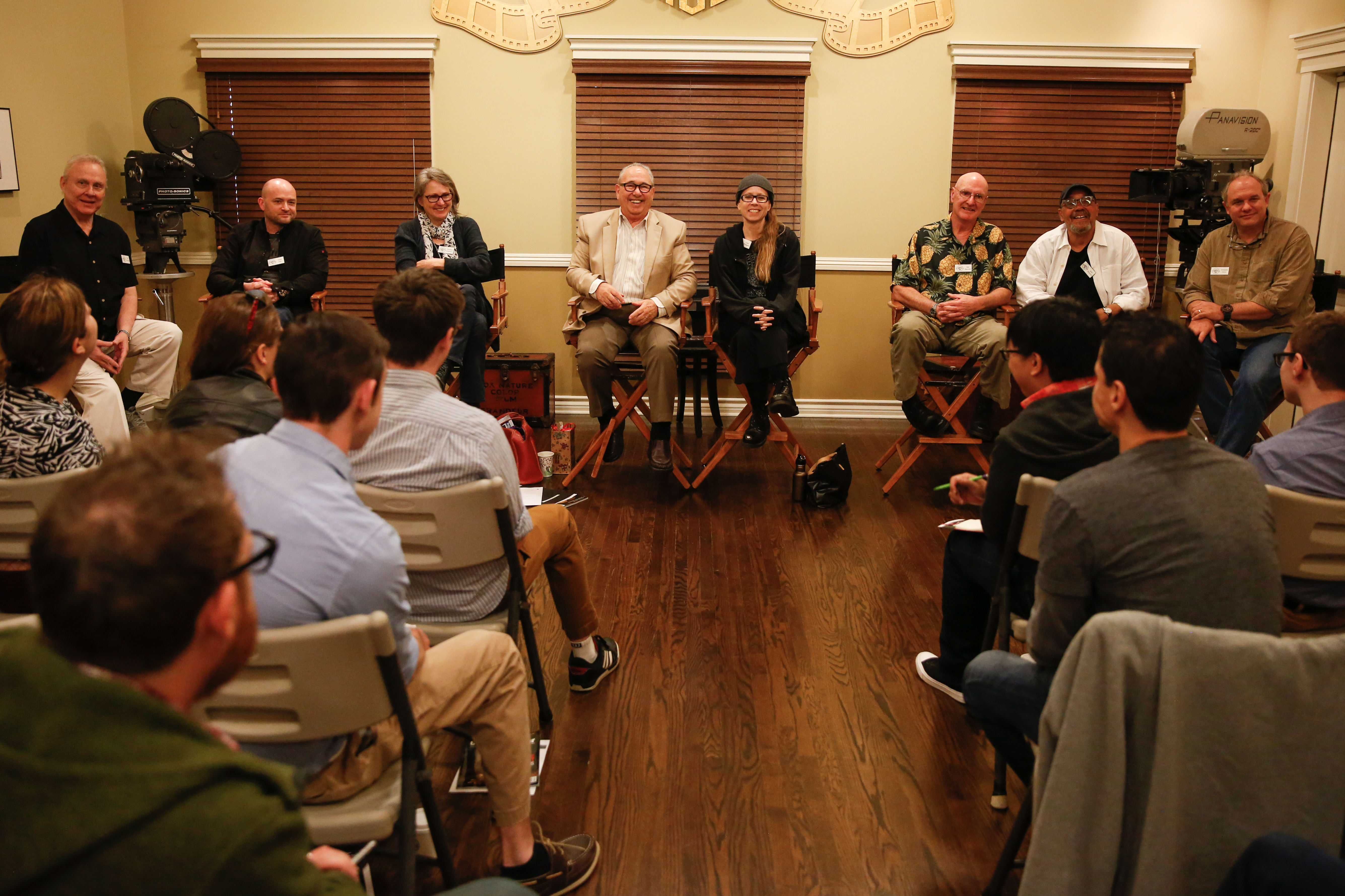 From left: ASC cinematographers Don McCuaig, David Klein, Cynthia Pusheck, George Spiro Dibie, Lisa Wiegand, Bill Bennett, John Simmons and Chris Chomyn field questions from students from the Rochester Institute of Technology. (Alex Beatty/ASC)