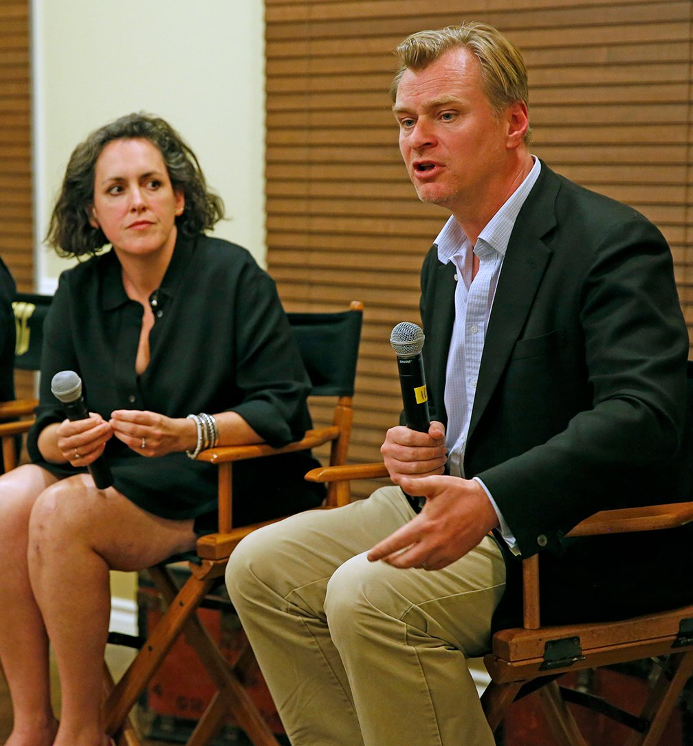 Producer Emma Thomas and writer-director Christopher Nolan.