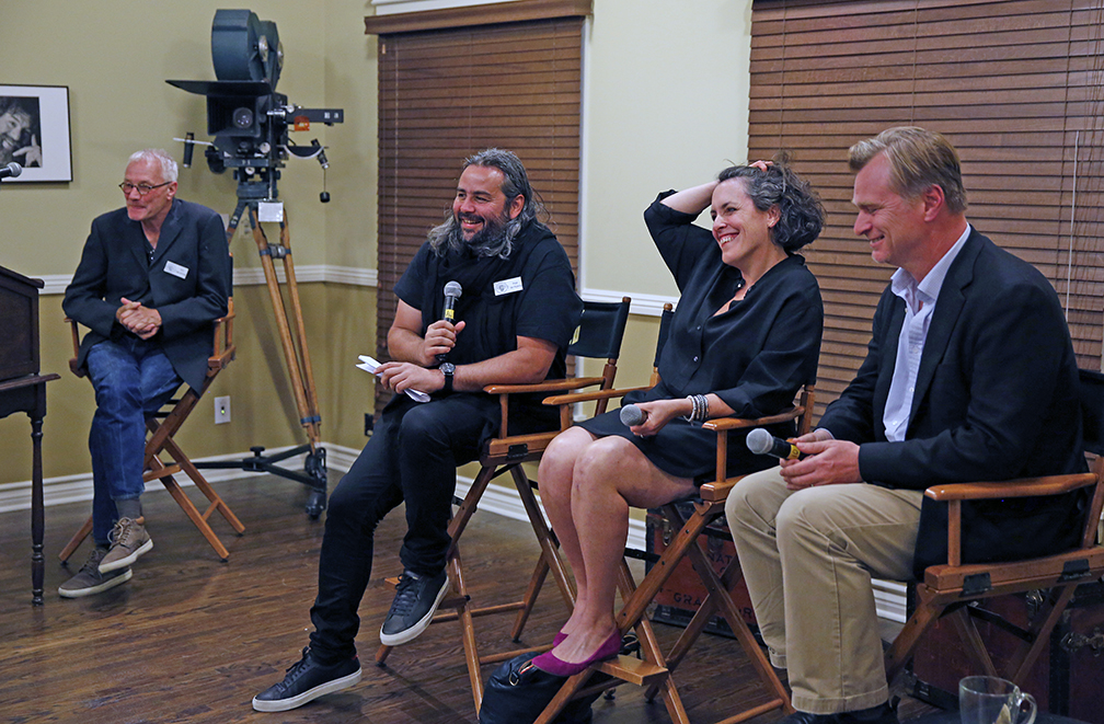 Kees Van Oostrum, ASC Hoyte van Hoytema, ASC, FSF; producer Emma Thomas and writer-director Christopher Nolan at the Clubhouse.