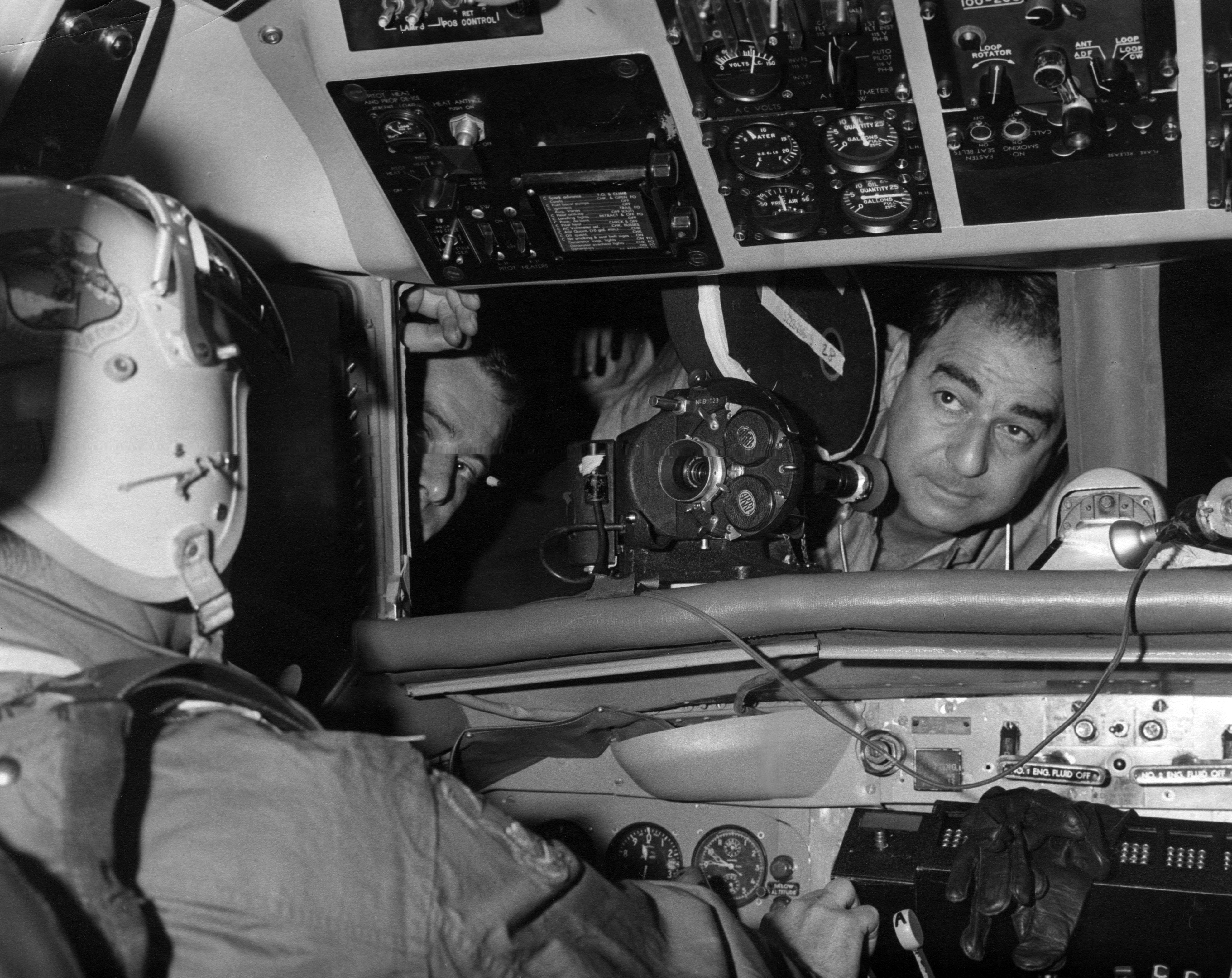 Hirschfeld angles into the cockpit of a B-52 bomber while filming the Cold War drama Fail Safe (1964).