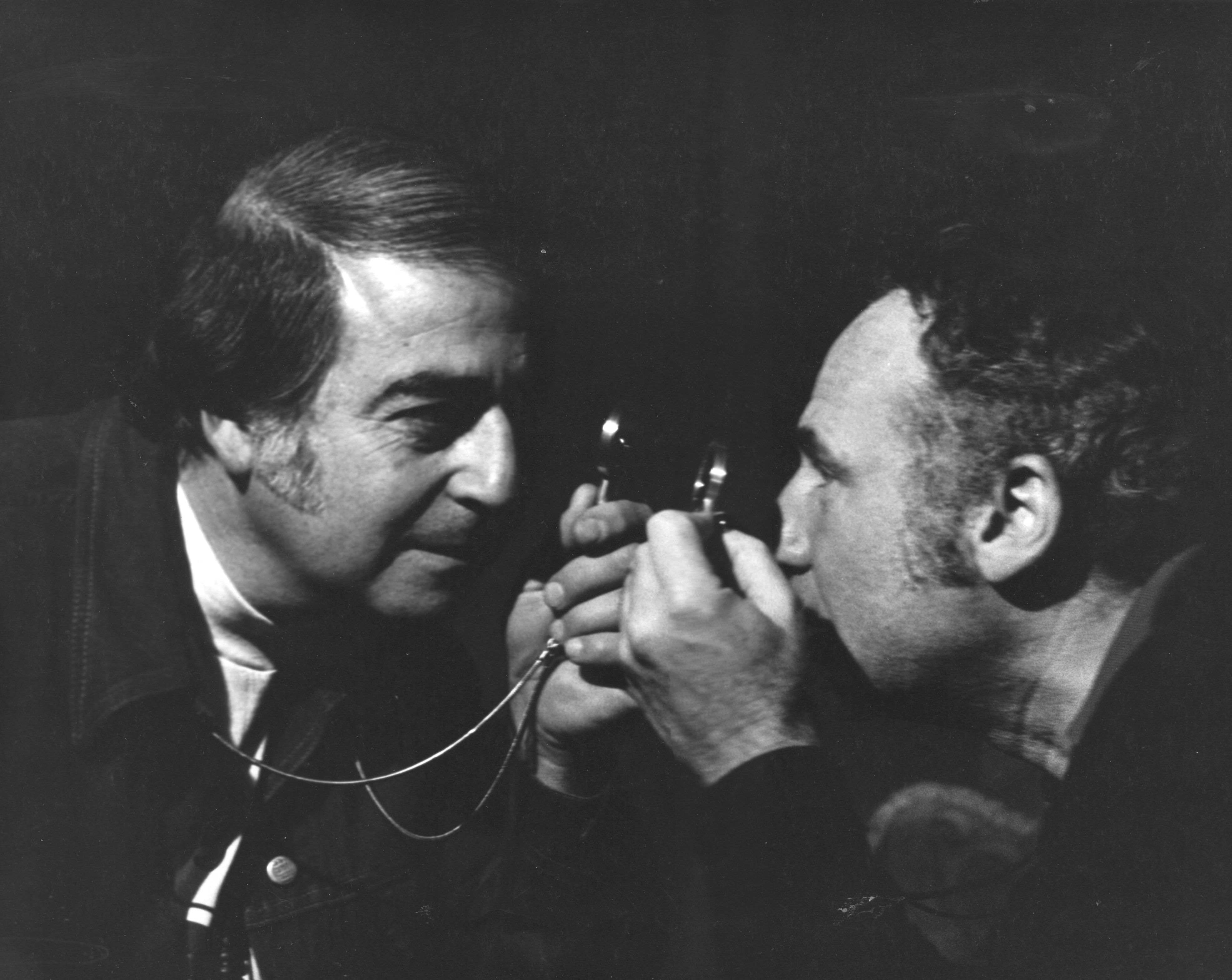 Hirschfeld (left) mixes it up with Young Frankenstein writer-director Mel Brooks.
