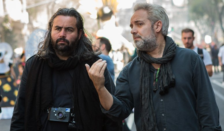 Hoyte van Hoytema, FSF, NSC, with director Sam Mendes on the Spectre set in Mexico City