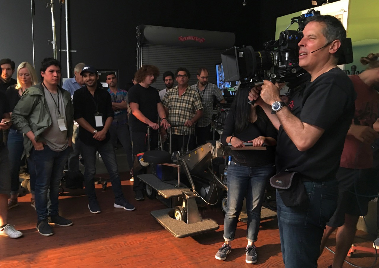 Rodrigo Prieto, ASC, AMC demonstrates operating technique during his ASC Master Class session. Photo by Larry Fong, ASC