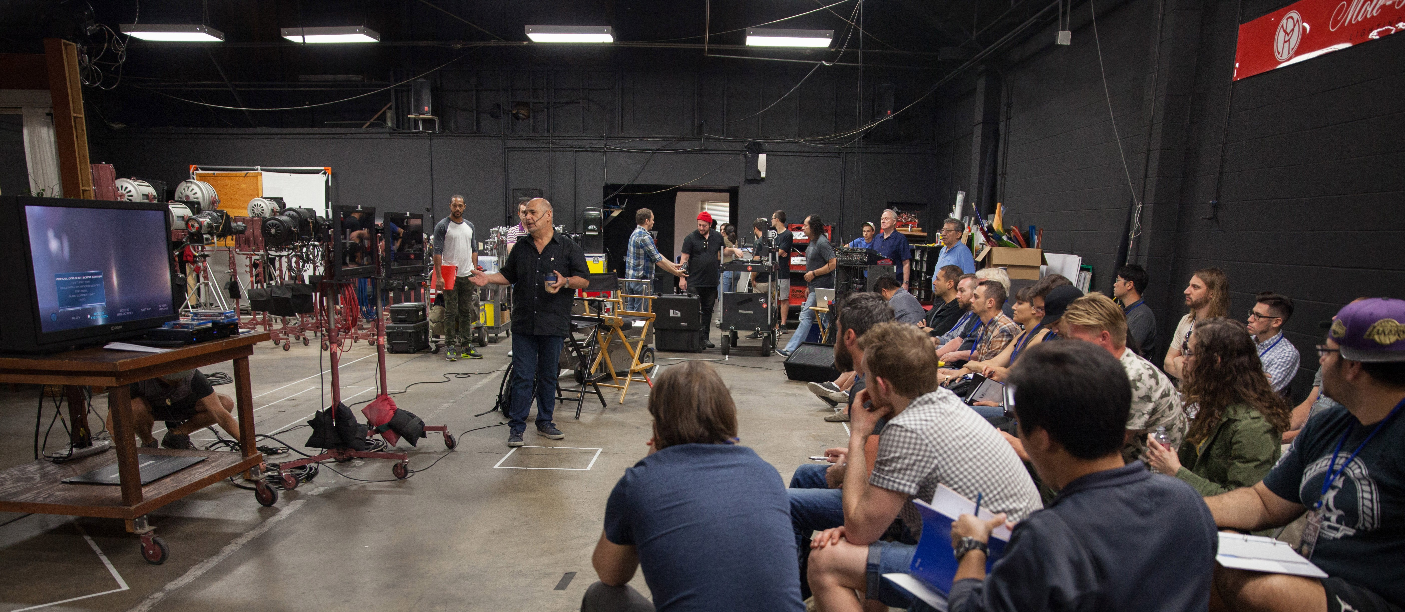 Gabriel Beristain, ASC, BSC, teaches a recent ASC Master Class on the soundstage at Mole-Richardson Co.