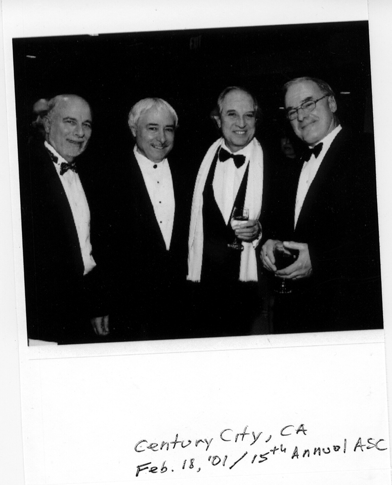 Goodich (left) poses with Italian ASC members Luciano Tovoli, Vittorio Storaro and Dante Spinotti at an ASC Awards ceremony.