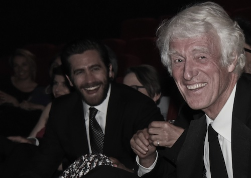 Jake Gyllenhaal laughs with Roger Deakins -photo Pauline Maillet-