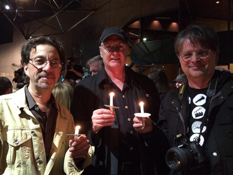 ASC members Michael Negrin, Bill Bennett and Jim Chressanthis at the Sarah Jones candlelight vigil. Photo by Christel Cornilsen.