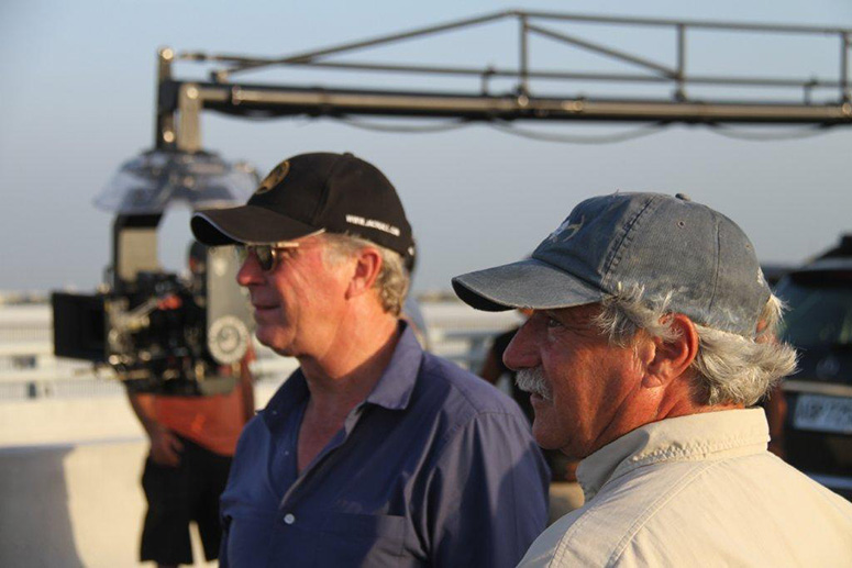 Josh Bleibtreu, ASC (foreground), and 2nd-unit director Jack Gill on location in Taiwan for Pi Zi Ying Xiong 2 (a.k.a. Black & White: The Dawn of Justice).