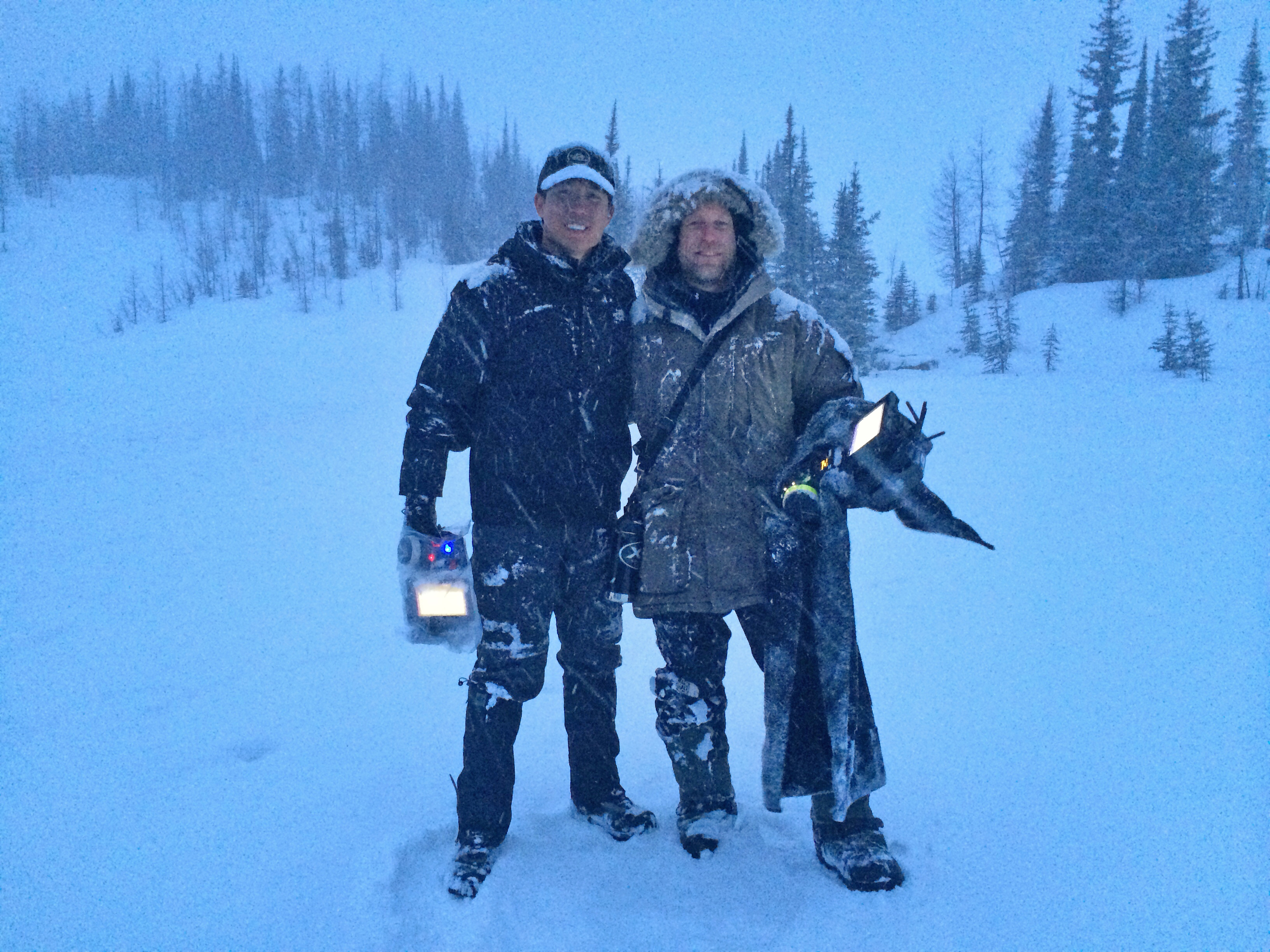 Members of Lubezki's team on The Revenant included DIT Arthur To and AC John T. Connor, here on location in Canada.