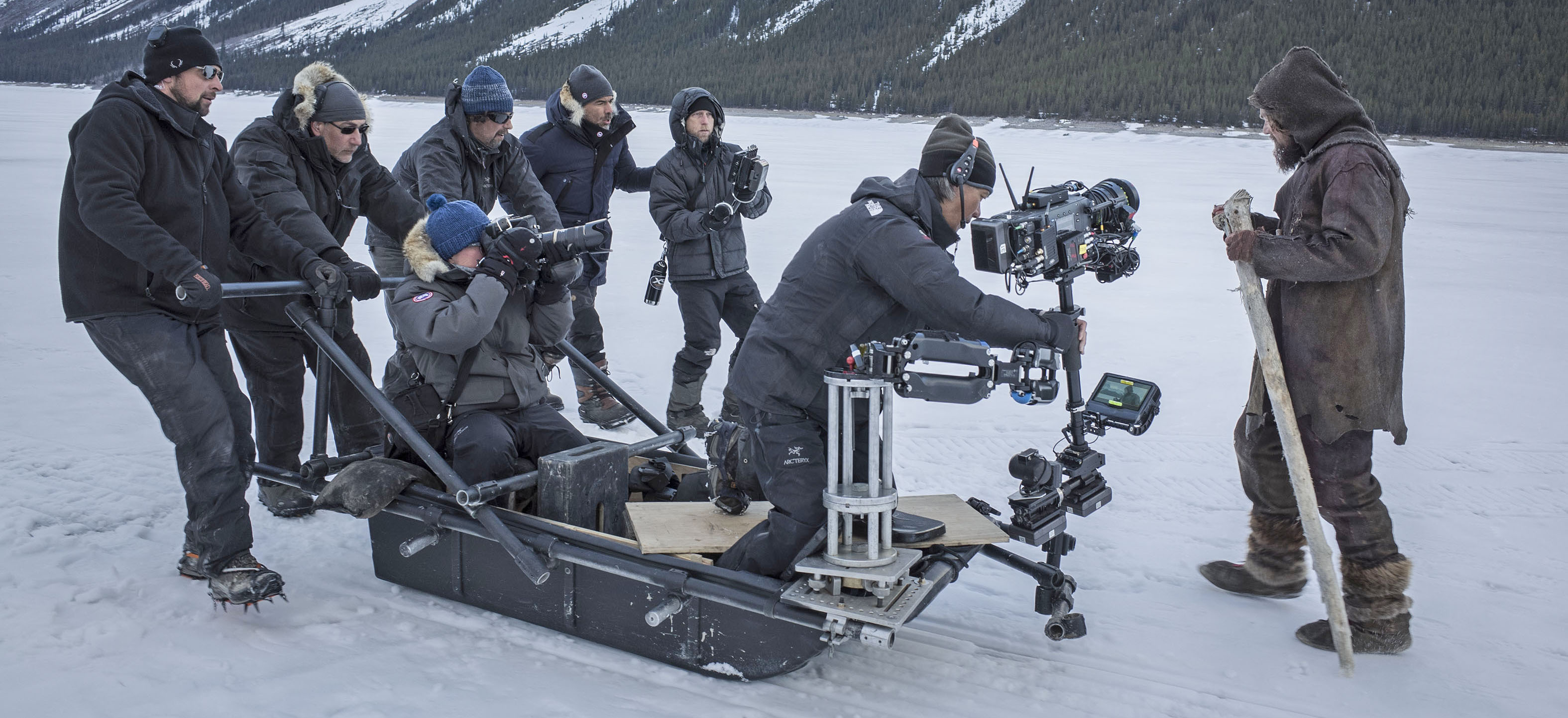 Lubezki and his team used a Steadicam mounted on an ice sled to capture a unique tracking shot over the snow.