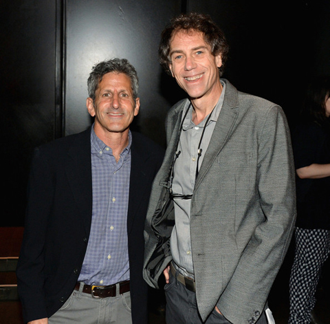 Buddy Squires (left) and Michael McDermott, the Portland director/photographer whose shot of Salinger is featured prominently in the film SALINGER, at the film's premiere in New York.