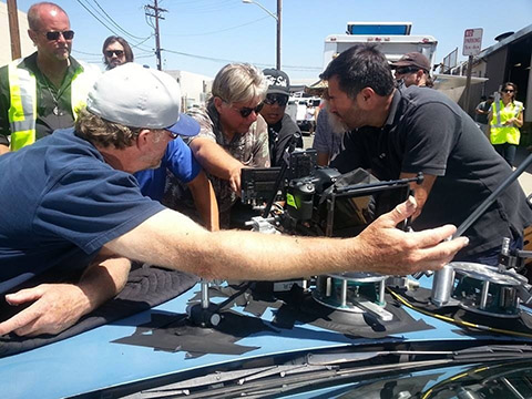 Setting up a shot for THE BRIDGE are (foreground, from left) A-camera operator Dave Frederick; director of photography Attila Szalay, ASC; A-camera 2nd AC Sal Alvarez; and DIT Enrique Del Rio. In the background are 1st AD Jeremiah Acerra (left) and 2nd AD Matt Janssen.