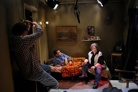 Jon Cryer and Kathy Bates prepare for a scene in TWO AND A HALF MEN.. Steve is at left.