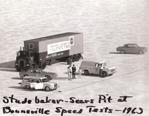 The Allstate Tire endurance test culminated at Bonneville. The Avanti is visible behind one of the two super-charged Studebaker station wagons, one of which is also in John's collection.