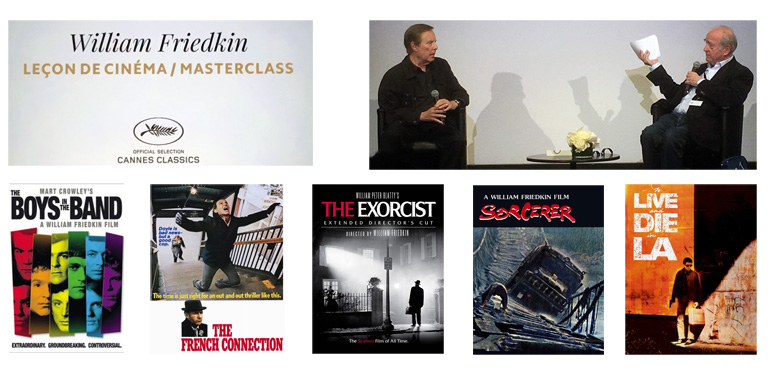 Some of the films discussed in the William Friedkin Cannes Master Class moderated by Michel Ciment (holding the paper)
