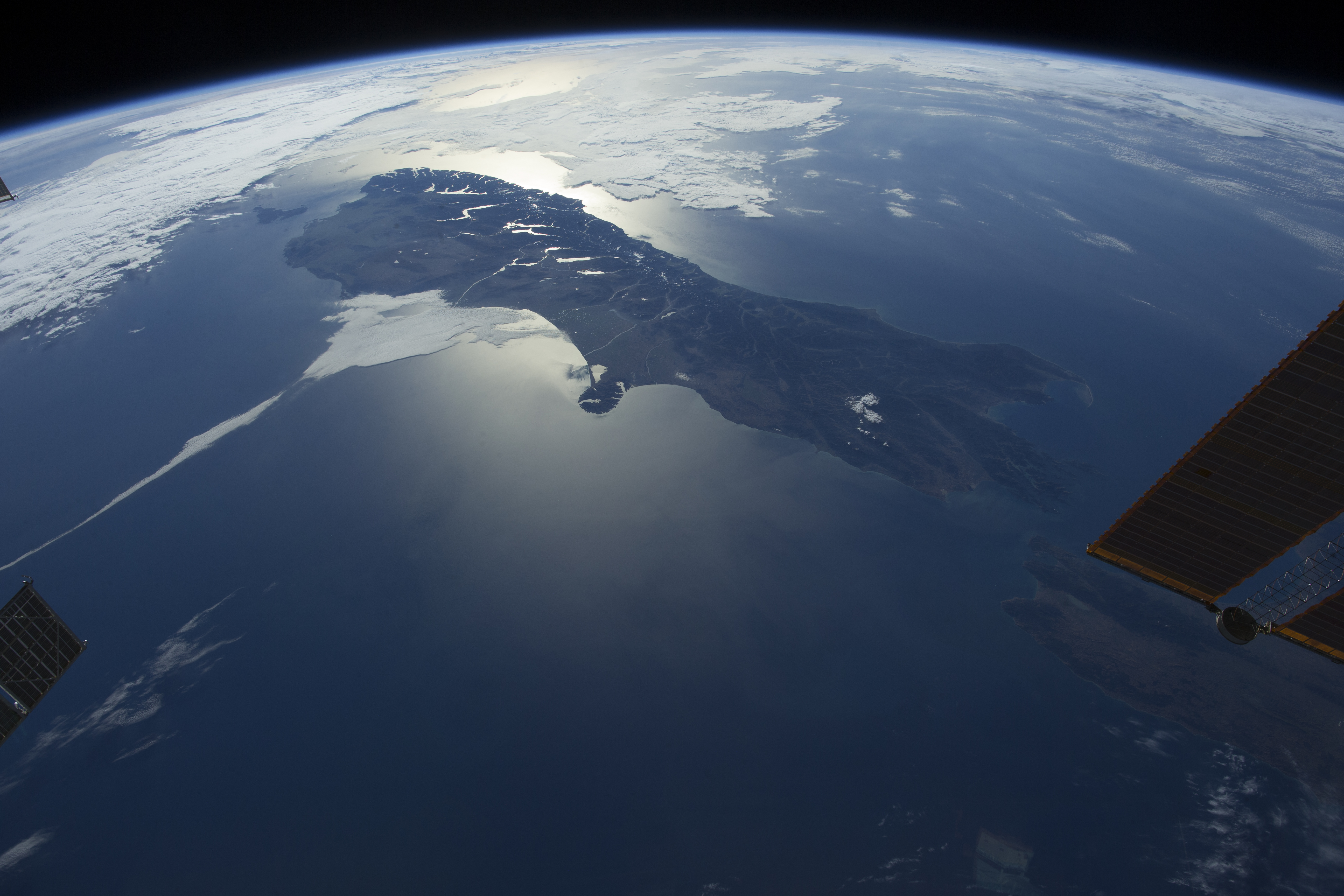 A view of the Earth, as seen in the IMAX film A Beautiful Planet.